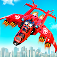 Flying Limo Police Helicopter Car Robot Games