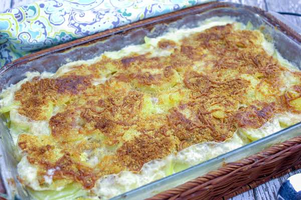 Potato Artichoke Gratin Hot And Bubbly From The Oven.