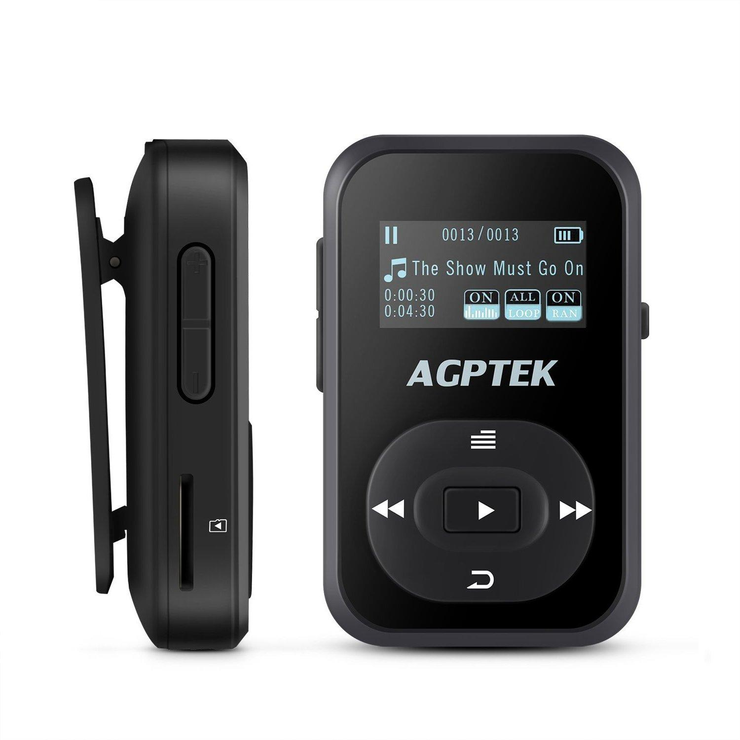 AGPTEK A26 Bluetooth MP3 Player (Best for Workout sessions MP3 Player)