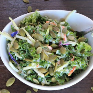 Kale and Broccoli Salad- with Creamy Coleslaw Dressing.