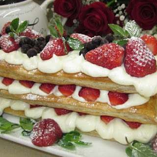 Layer Cake Millefeuille with mascarpone.