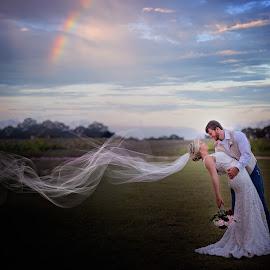 Rainbow by Beth Ann - Wedding Bride & Groom ( wedding, couple, veil, rainbow, country )