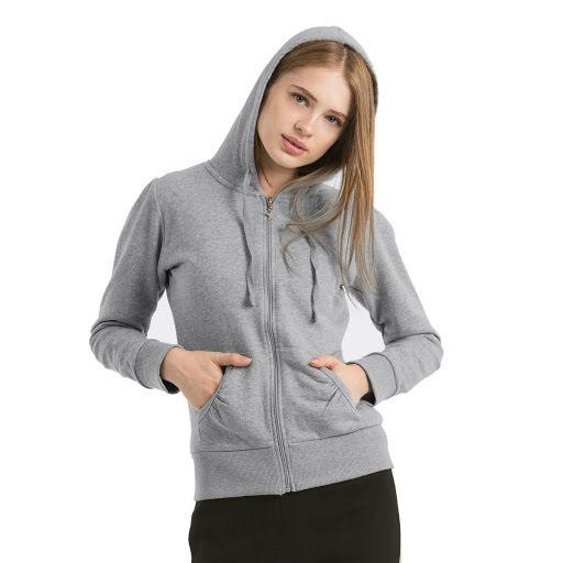 B&C Wonder Women Hooded Sweatshirt (Heather Grey)