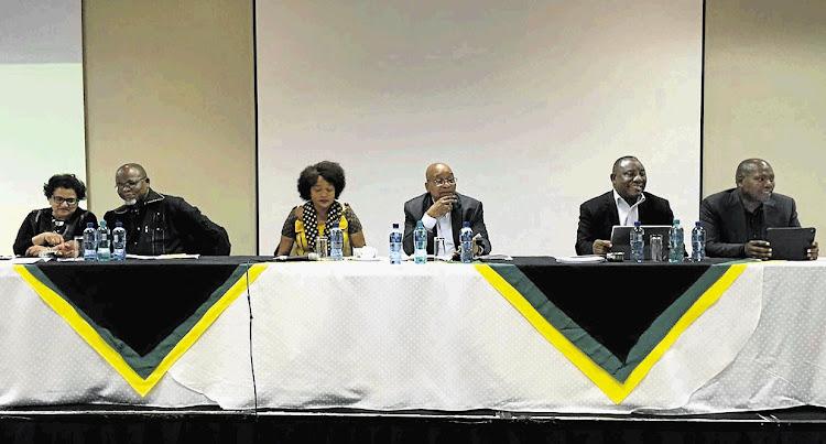 The ANC Top 6 - deputy secretary-general Jesse Duarte, secretary-general Gwede Mantashe, national chairman Baleka Mbethe, President Jacob Zuma, Deputy President Cyril Ramphosa and treasurer-general Zweli Mkhize.