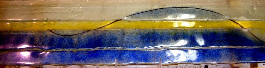 Photo: 'Reclining nude', 2008 - fused stained glass and wire - 100x27cms - SALE PRICE £120
