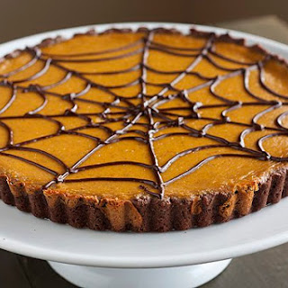 Pumpkin Chocolate Spiderweb Tart.