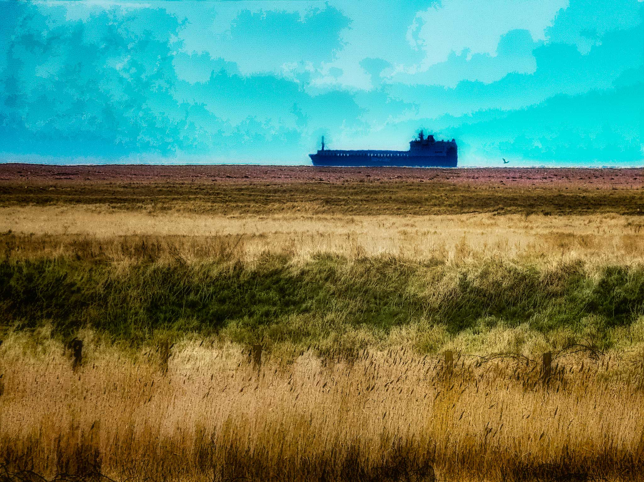 Photo: Sliding By The Ness A ship passes through the . . . day.  On the day in April 2006 that we visited the radio transmitters at Orford Ness, a ship was passing northward just offshore in the English Channel.  This photo was machine washed and tumble dried in #PhotoshopCC , #TopazDenoise3 , #TopazDetail5 and #TopazSimplify4 with some additional adjustment layers.  #Travel  #England  #OrfordNess  #Suffolk