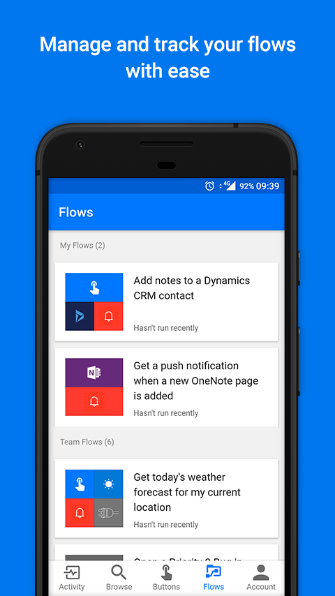 Microsoft Flow- screenshot
