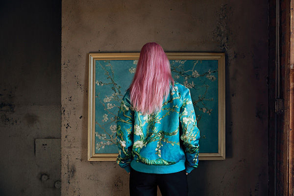 Van Gogh's 'Almond Blossom' on a satin bomber jack.