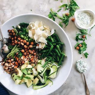 ZUCCHINI AND AVOCADO SALAD WITH HERB 'MAYO' AND CHICKPEA CROUTONS