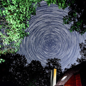 Circumpolar Motion! by Bud Branch - Landscapes Starscapes ( startrails )