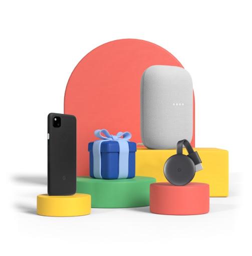 Prodotti Google delle offerte di compleanno su piedistalli di varie altezze.