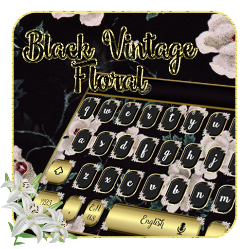 keyboard.theme.vintage.flower.black