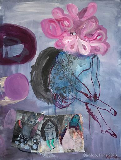 fantomes-de-l'enfance-sophie-lormeau-artiste-peintre-art-contemporain-acrylique-et-collages-sur-papier-magasine-toile-grand-format-colorful-art-singulier-maison-jambes-yeux-fleurs-dream-bleu-rose