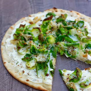 Brussels Sprouts Pizza with Ricotta Cheese and Caramelized Onions