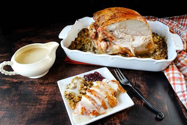 Turkey Breast With Stuffing And Gravy Ready To Serve.