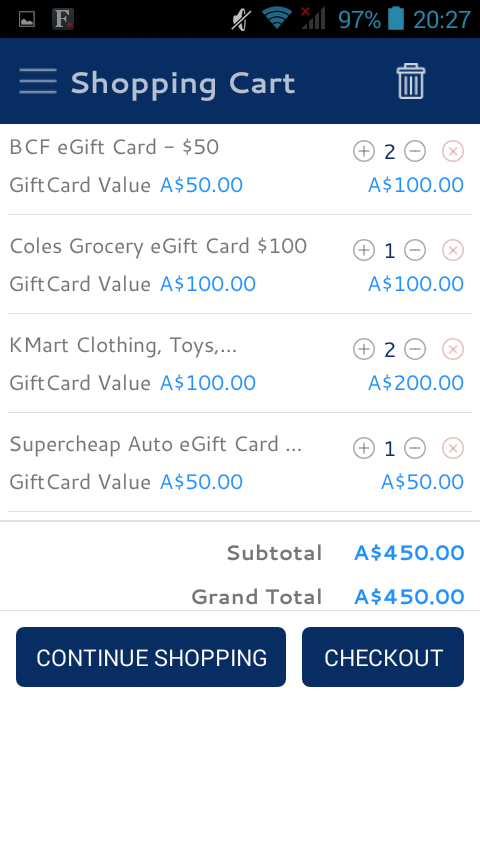 Easyshoppingcards- screenshot