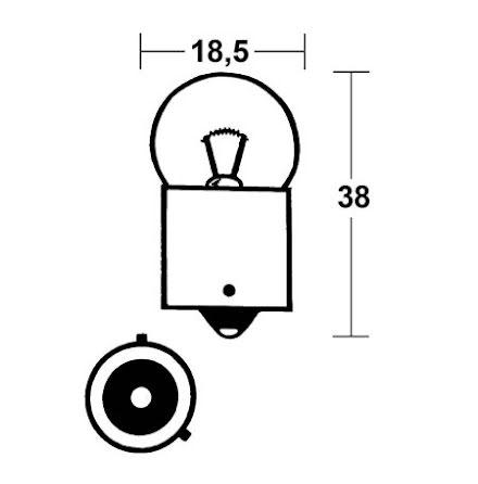 RY10W incandescent lamp 12V 10W BAU15S, yellow