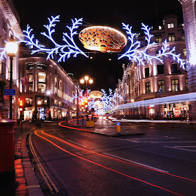Lights by Vineet Johri - Public Holidays Christmas ( lights, uk, london, decoration, christmas, night, festival, night lighting street,  )