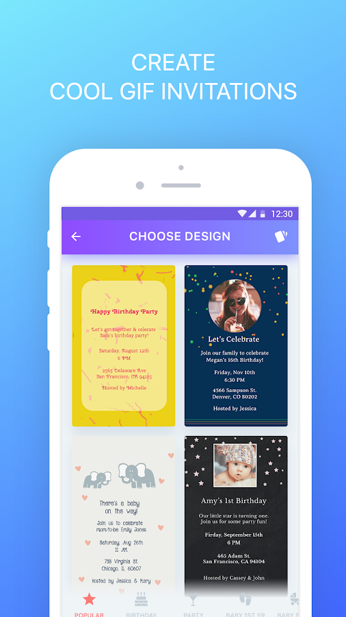 PHILDORA: GIF Invitations Maker & Party Planner- screenshot
