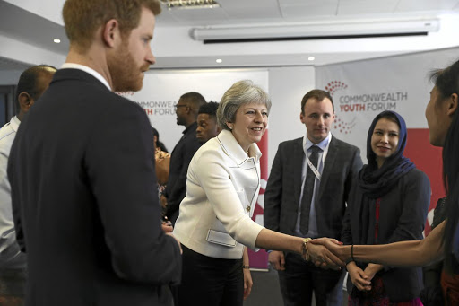 Alternatives: Britain Prime Minister Theresa May and Prince Harry attend a Commonwealth heads of government meeting youth forum in London on Monday. The Commonwealth meeting with heads of state will offer the UK an opportunity to examine other trade partners and economic interests after Brexit. Picture: REUTERS