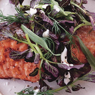 Salmon with Lemon-Pepper Sauce and Watercress-Herb Salad recipe | Epicurious.com.