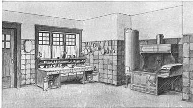 Photo: 1909. Another view of the Stickley kitchen.