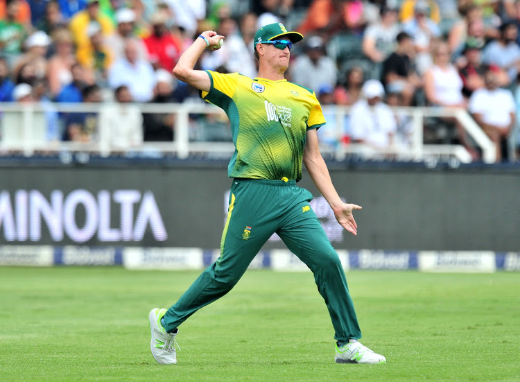 Chris Morris of South Africa fielding during the T20 match between the Proteas and India at Wanderers Stadium in Johannesburg on February 8, 2018.