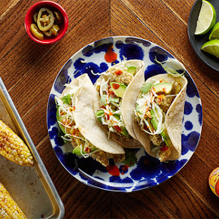 Sheet-Pan Crispy Fish Tacos with Chili-Roasted Corn.