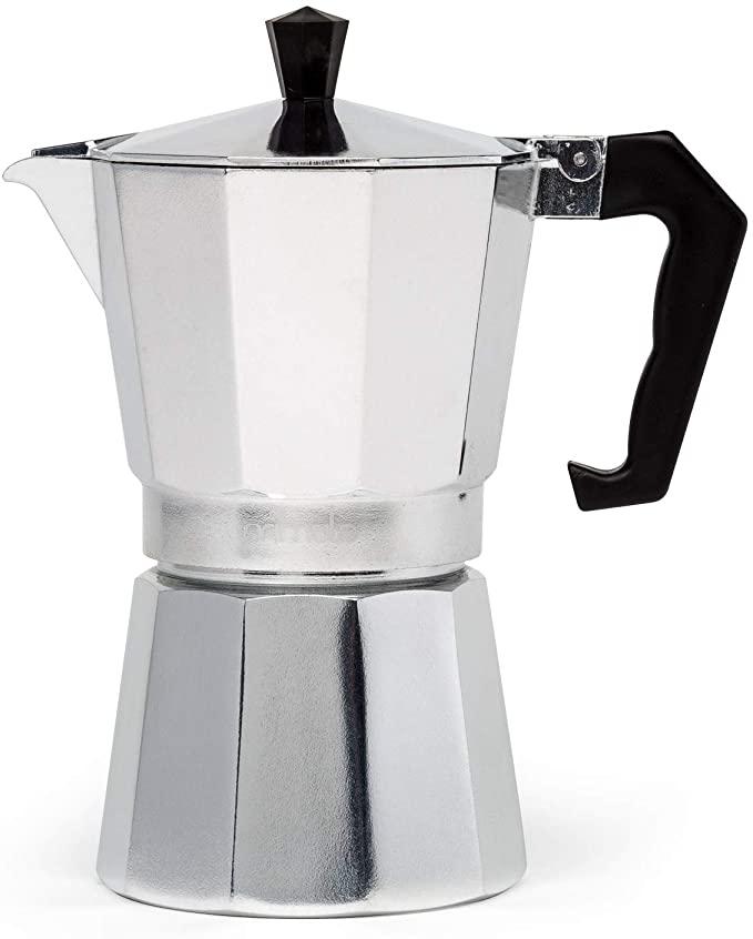 Primula Aluminum Espresso Maker - Aluminum - For Bold, Full Body Espresso - Easy to Use - Makes 6 Cups