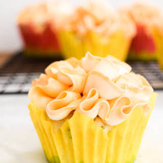Basil Cupcakes with Grapefruit Icing.