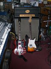 Photo: Landau's '63 Gibson SG and custom Fender strat.