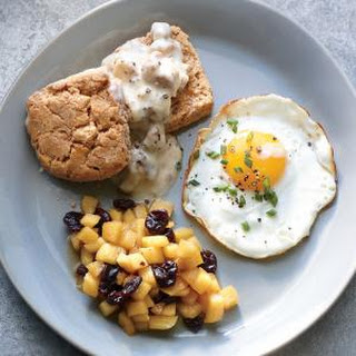 Whole-Grain Biscuits with Sausage Gravy and Eggs.