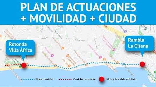 Se ampliará el carril bici desde Villa África hasta el puerto de Aguadulce