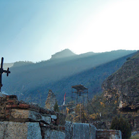 Shining by Marko Vuckovic - Landscapes Mountains & Hills ( hills, christianity, sunset, sunrise, cross )