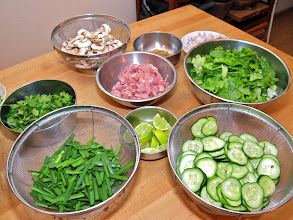 Photo: various prepared ingredients for the evening's dishes