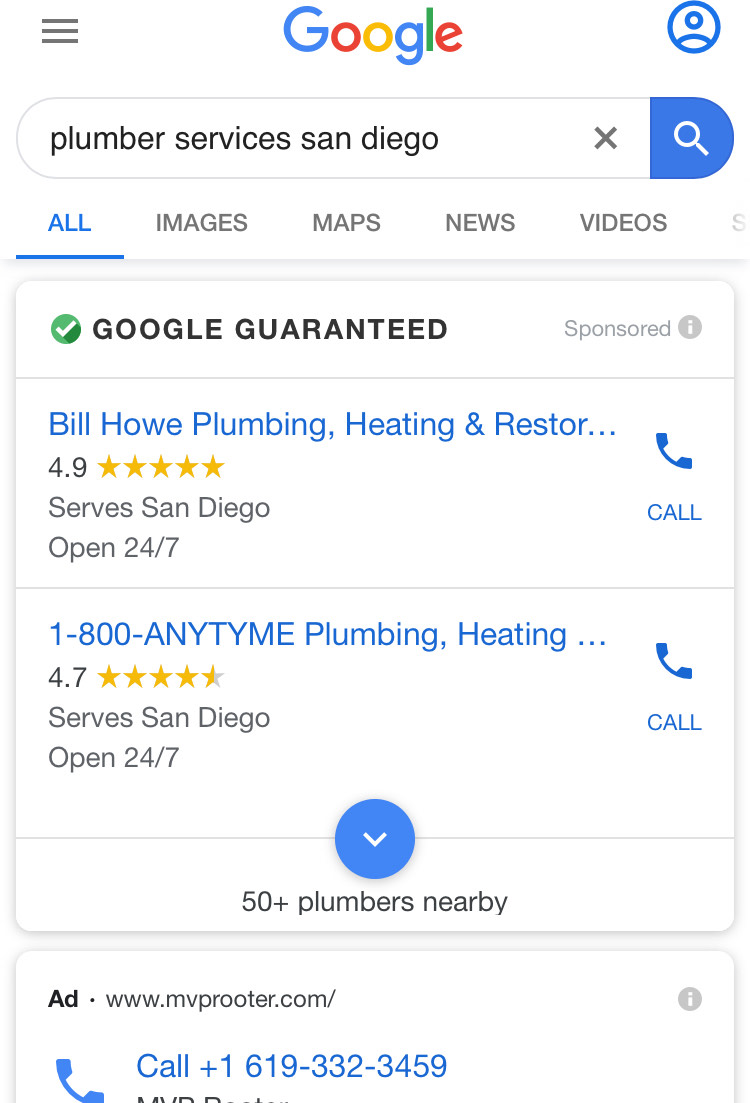 google ads local services