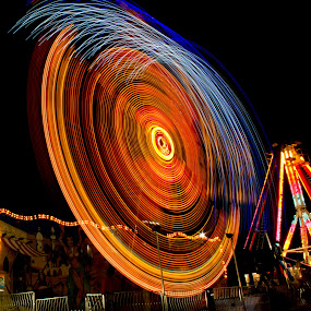 Midnight Ride by Pat Eisenberger - Abstract Light Painting ( ride, spinning, wheel, carnival, night )