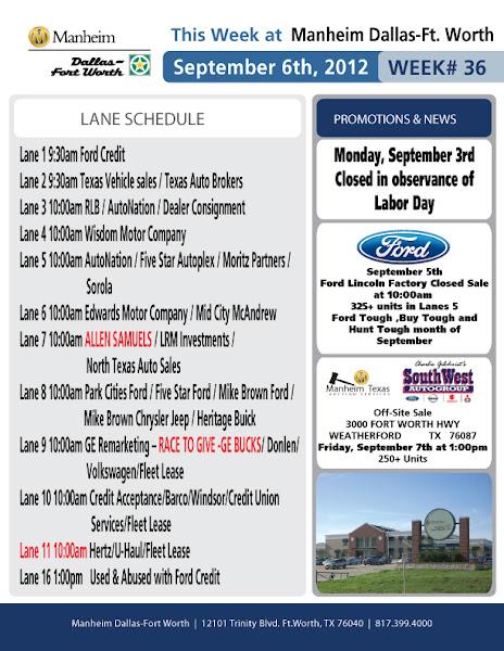 Photo: Week 36 Lane Schedule