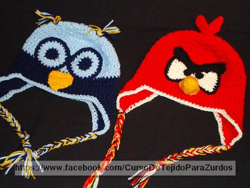 gorros lechucita y angry birds tejido al crochet ganchillo para zurdos