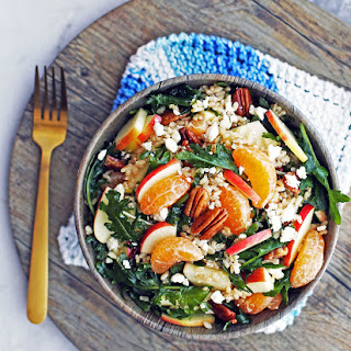 Baby Kale and Brown Rice Salad with Feta and Clementines.