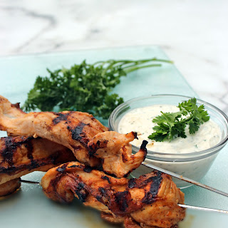 TBBQ Chicken Skewers with Homemade Cilantro Lime Ranch