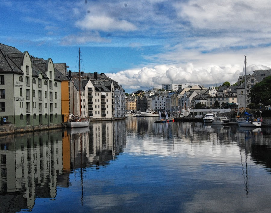 Harborside by Cathleen Steele - City,  Street & Park  Vistas ( sky, reflection, blue, harbor, norway, clouds, quiet, water, serene, architecture )