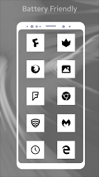 Square Pixel Dark White AMOLED UI - Icon Pack APK screenshot thumbnail 3