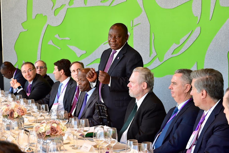 South African President Cyril Ramaphosa and his team meeting international investors and business leaders in London.