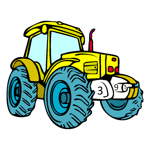 Tractors Color by Number - Vehicles Coloring Book Icon