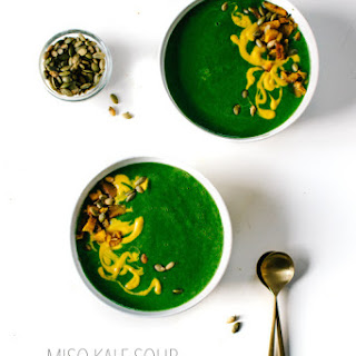 Miso Kale Soup with Kabocha Squash Cream.