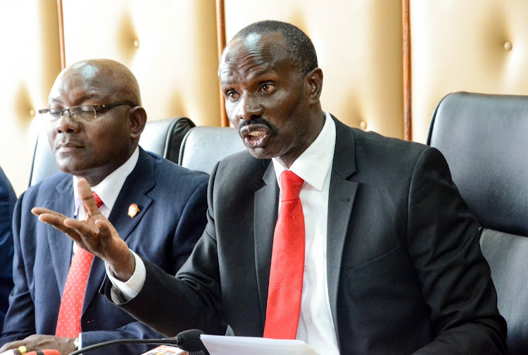 Knut secretary general Wilson Sossion and chairman Wycliffe Omuchayi at their office in Nairobi.