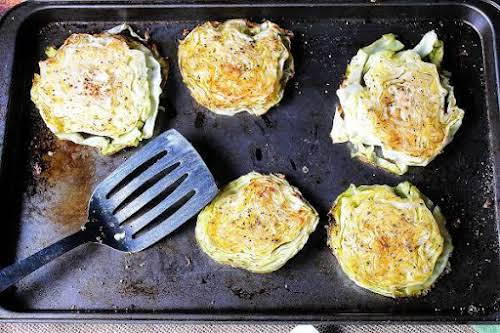 """Garlic Rubbed Roasted Cabbage Steaks """"If you love cabbage, you are going..."""