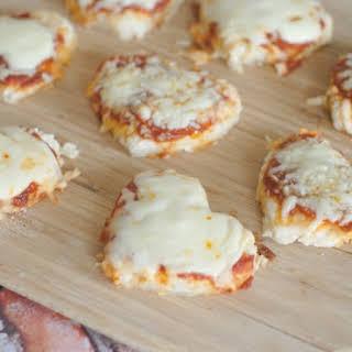 Mini Heart Shaped Pizzas.